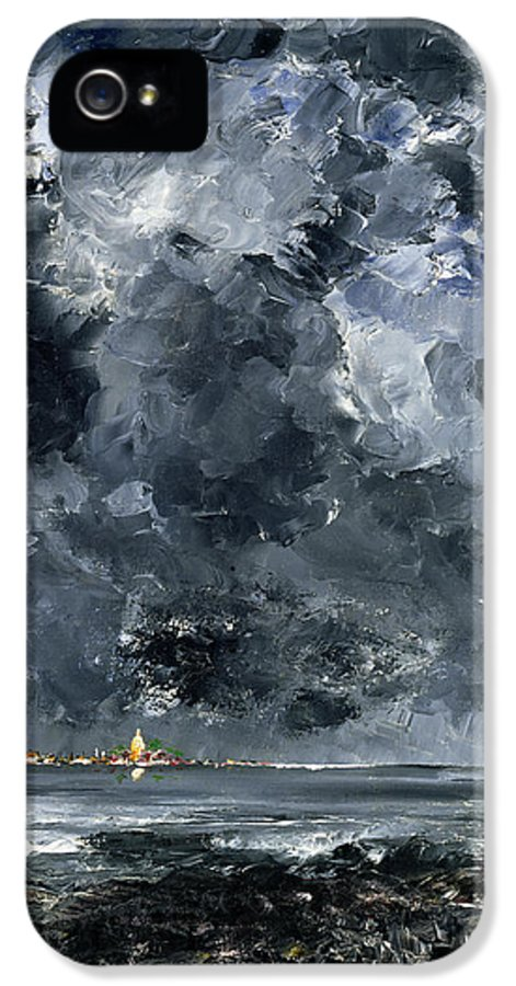 Expressionist; Storm; Sea; Harbour; Port; Stormy; Sky; Cloud Study; Symbolist; Stormy; Skyscape; Dramatic; Nature; Elements; Elemental; Blue; Night; Nocturne; Dark; Glowing; Isolated; Humanity; Culture IPhone 5 / 5s Case featuring the painting The Town by August Johan Strindberg