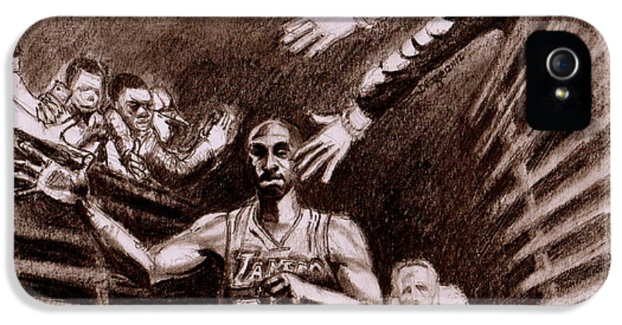 Kobe IPhone 5 / 5s Case featuring the drawing Thirty Thousand And Beyond by Dallas Roquemore