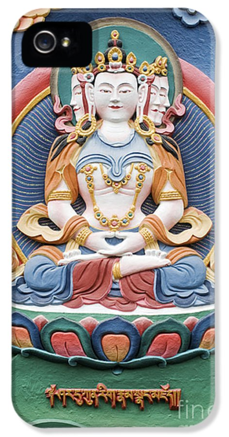 Buddha IPhone 5 / 5s Case featuring the photograph Tibetan Buddhist Temple Deity Sculpture by Tim Gainey