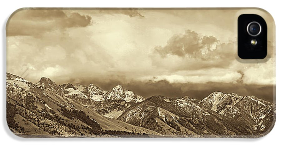 Montana IPhone 5 / 5s Case featuring the photograph Tobacco Root Mountain Range Montana Sepia by Jennie Marie Schell