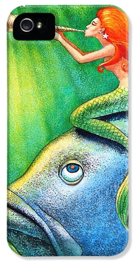 Mermaid IPhone 5 / 5s Case featuring the painting Toot Your Own Seashell Mermaid by Sue Halstenberg