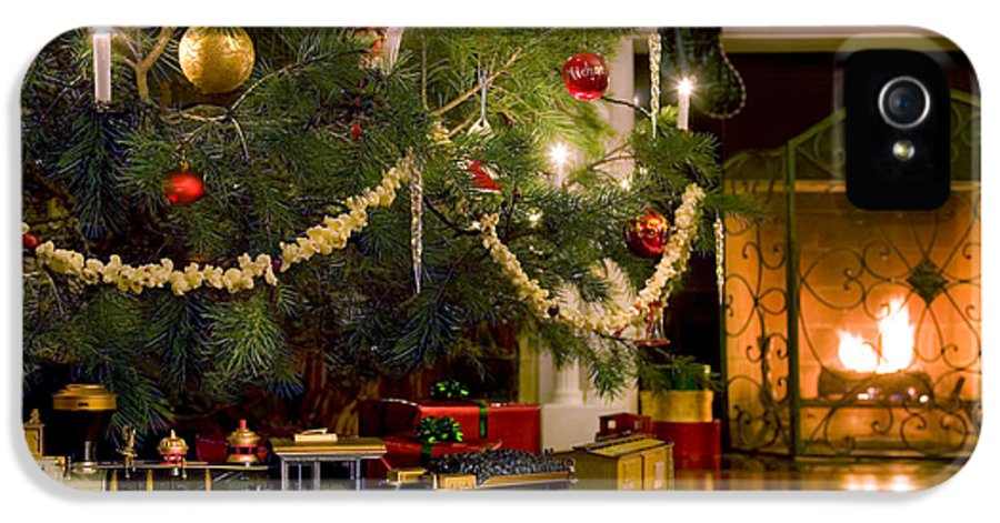 Christmas IPhone 5 / 5s Case featuring the photograph Toy Train Under The Christmas Tree by Diane Diederich