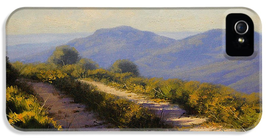 Megalong IPhone 5 / 5s Case featuring the painting Track Along Walls Ledge Blackheath by Graham Gercken
