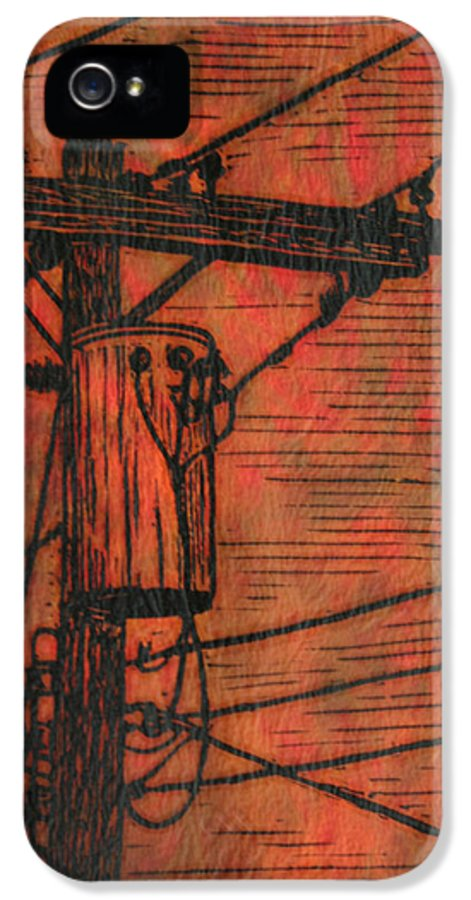 Power IPhone 5 / 5s Case featuring the drawing Transformer by William Cauthern