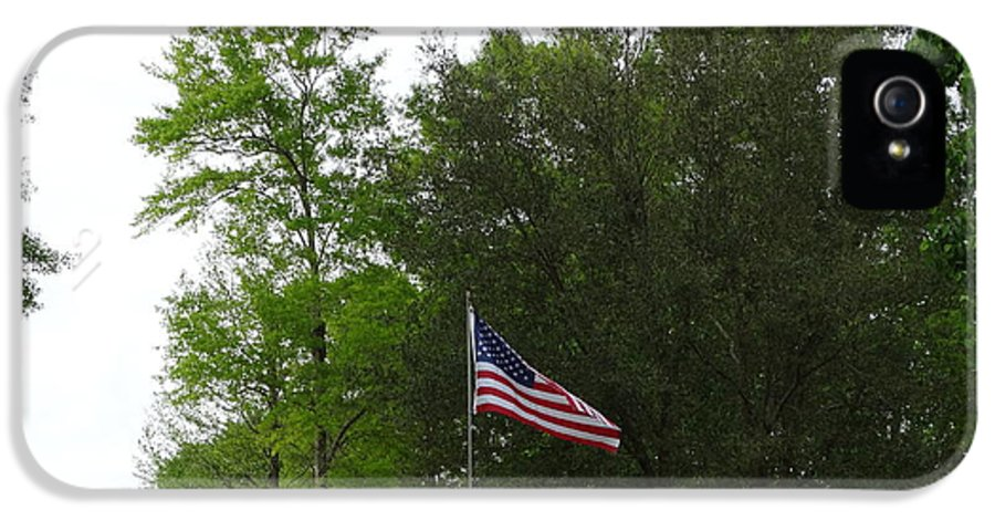 Flag IPhone 5 / 5s Case featuring the photograph Trees And Flag by Joseph Baril