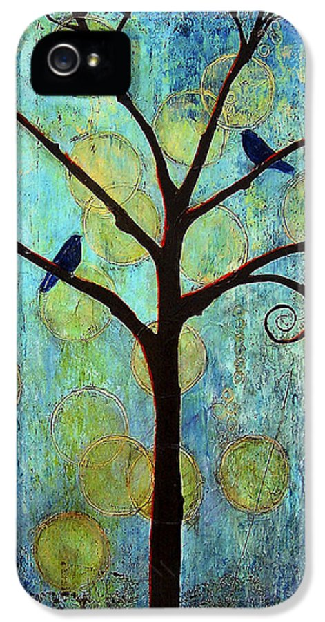 Black Birds IPhone 5 / 5s Case featuring the painting Twilight Tree Of Life by Blenda Studio