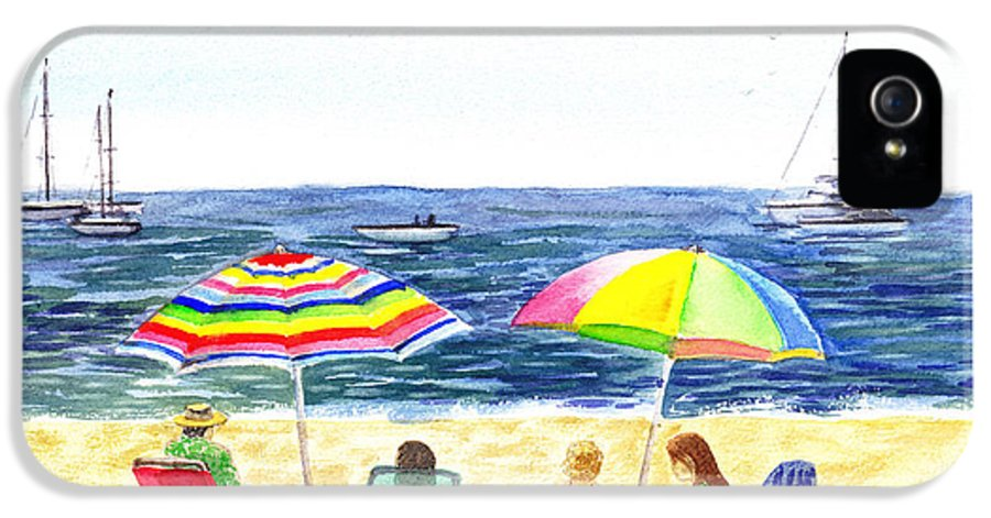 California IPhone 5 / 5s Case featuring the painting Two Umbrellas On The Beach California by Irina Sztukowski