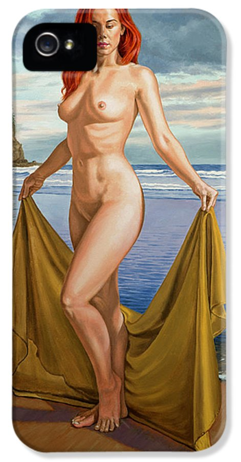 Figure IPhone 5 / 5s Case featuring the painting Vaunt At The Beach by Paul Krapf