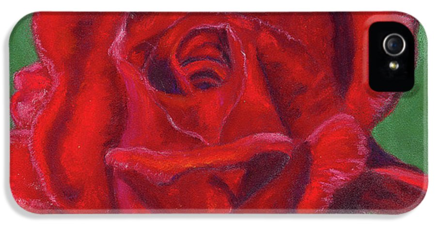 Rose IPhone 5 / 5s Case featuring the painting Very Red Rose by Arlene Crafton