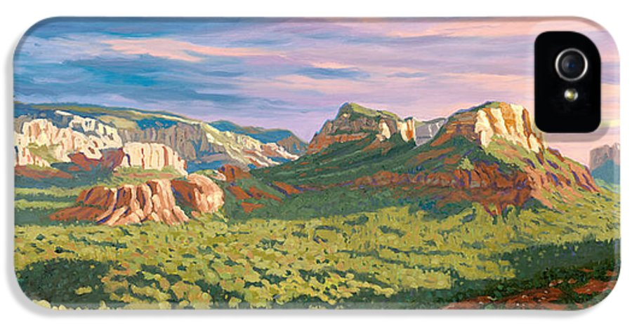 Sedona IPhone 5 / 5s Case featuring the painting View From Airport Mesa - Sedona by Steve Simon