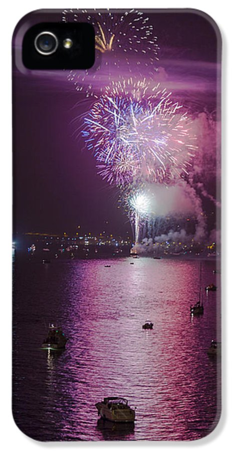 Fireworks IPhone 5 / 5s Case featuring the photograph View From The Deck by Scott Campbell