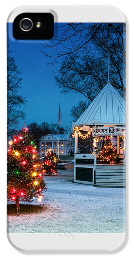 New England IPhone 5 / 5s Case featuring the photograph Village Green Holiday Greetings- New Milford Ct - by Thomas Schoeller