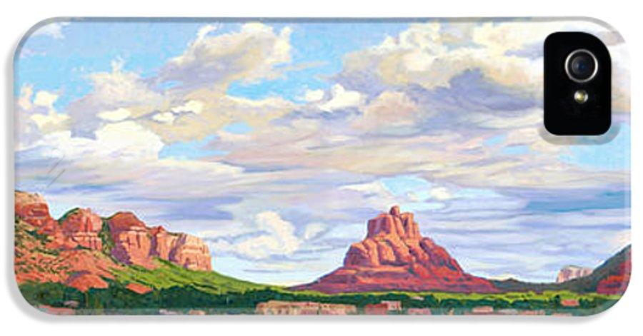 Skyline IPhone 5 / 5s Case featuring the painting Village Of Oak Creek - Sedona by Steve Simon