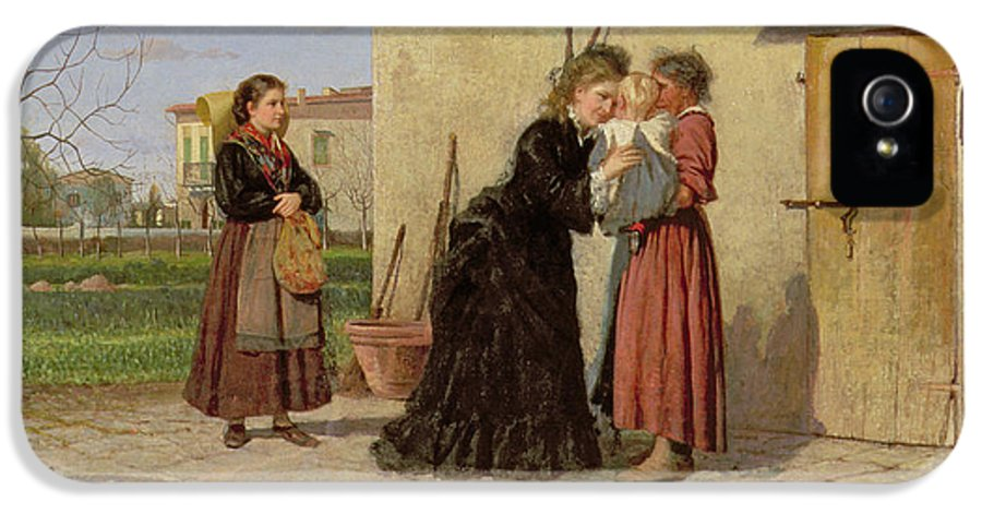 Rural IPhone 5 / 5s Case featuring the painting Visiting The Wet Nurse by Silvestro Lega