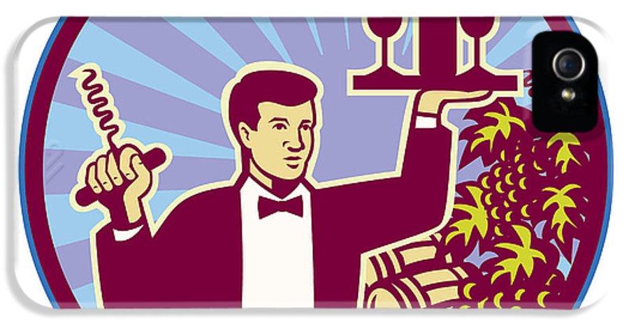 Waiter IPhone 5 / 5s Case featuring the digital art Waiter Serving Wine Glass Bottle Retro by Aloysius Patrimonio