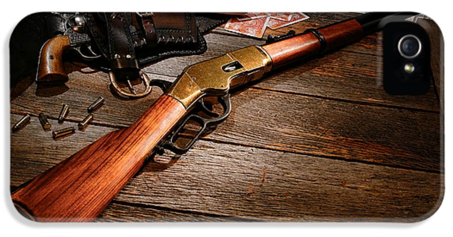 Western IPhone 5 / 5s Case featuring the photograph Waiting For The Gunfight by Olivier Le Queinec