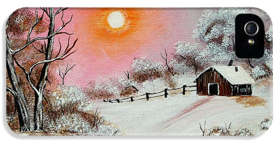 Warm Winter Day IPhone 5 / 5s Case featuring the painting Warm Winter Day After Bob Ross by Barbara Griffin