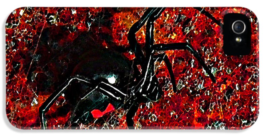 Black Widow Spider IPhone 5 / 5s Case featuring the photograph Wicked Widow - Rouge by Al Powell Photography USA