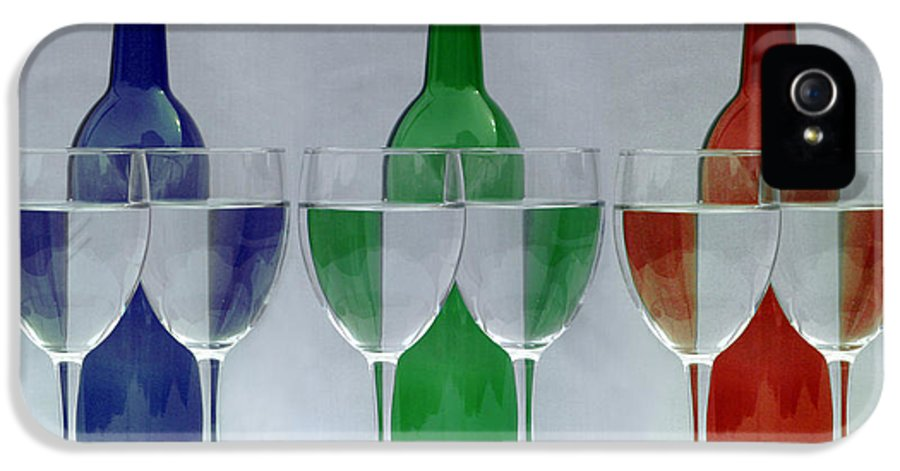 Wine Bottles IPhone 5 / 5s Case featuring the photograph Wine Bottles And Glasses Illusion by Jack Schultz