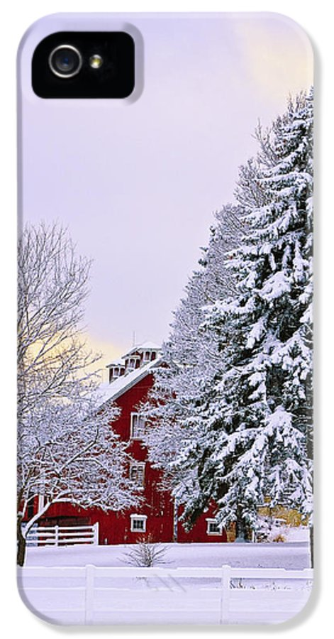 Barn IPhone 5 / 5s Case featuring the photograph Winter Farm Scene by Timothy Flanigan