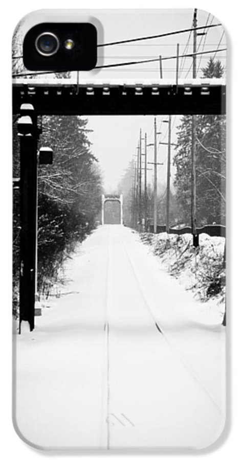 Trains IPhone 5 / 5s Case featuring the photograph Winter Tracks by Aaron Lee VonBerg