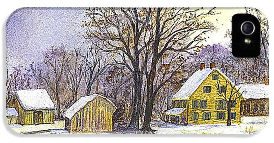 Christmas Cards IPhone 5 / 5s Case featuring the painting Wintertime In The Country by Carol Wisniewski