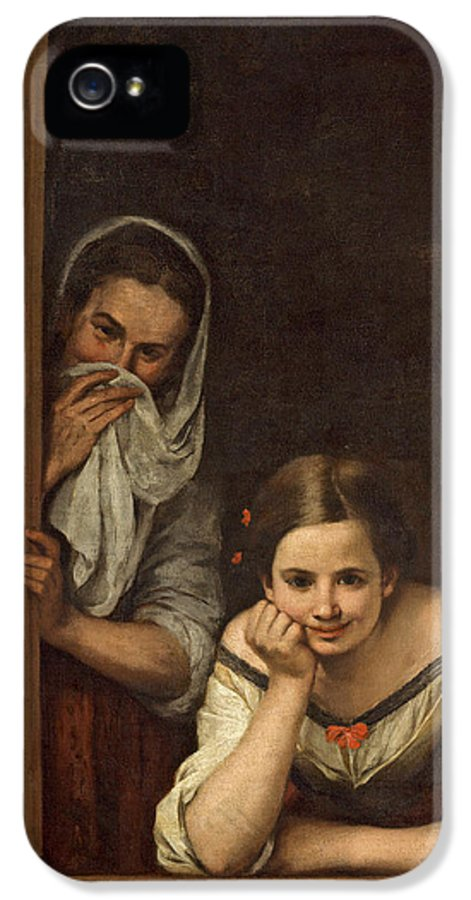 Murillo IPhone 5 / 5s Case featuring the painting Women From Galicia At The Window by Bartolome Esteban Murillo