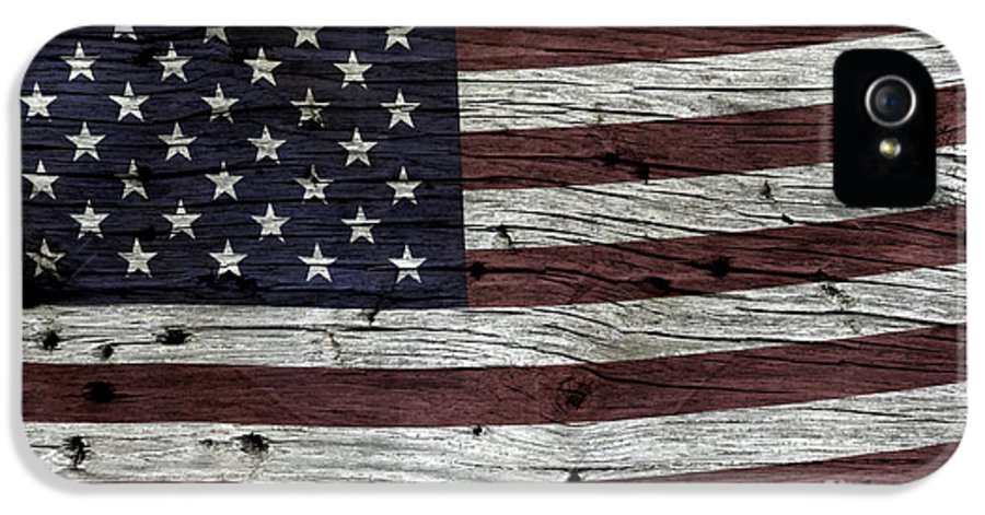 Usa IPhone 5 / 5s Case featuring the photograph Wooden Textured Usa Flag3 by John Stephens