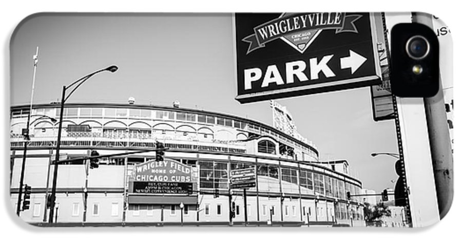 America IPhone 5 / 5s Case featuring the photograph Wrigley Field And Wrigleyville Signs In Black And White by Paul Velgos