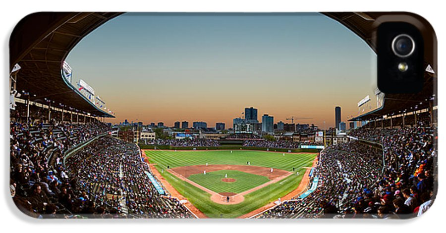 Cubs IPhone 5 / 5s Case featuring the photograph Wrigley Field Night Game Chicago by Steve Gadomski