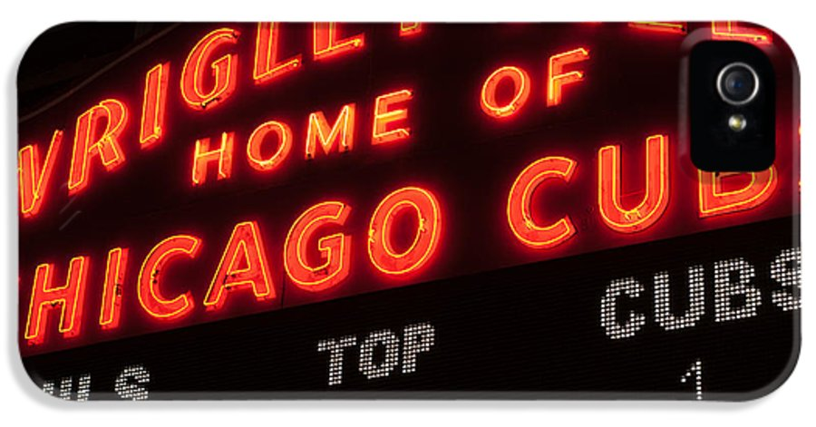 Chicago IPhone 5 / 5s Case featuring the photograph Wrigley Field Sign At Night by Paul Velgos