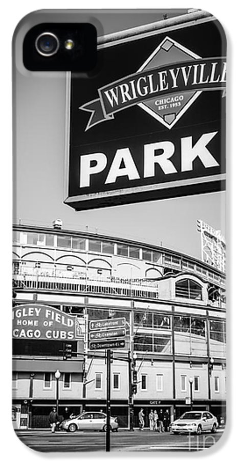 America IPhone 5 / 5s Case featuring the photograph Wrigleyville Sign And Wrigley Field In Black And White by Paul Velgos