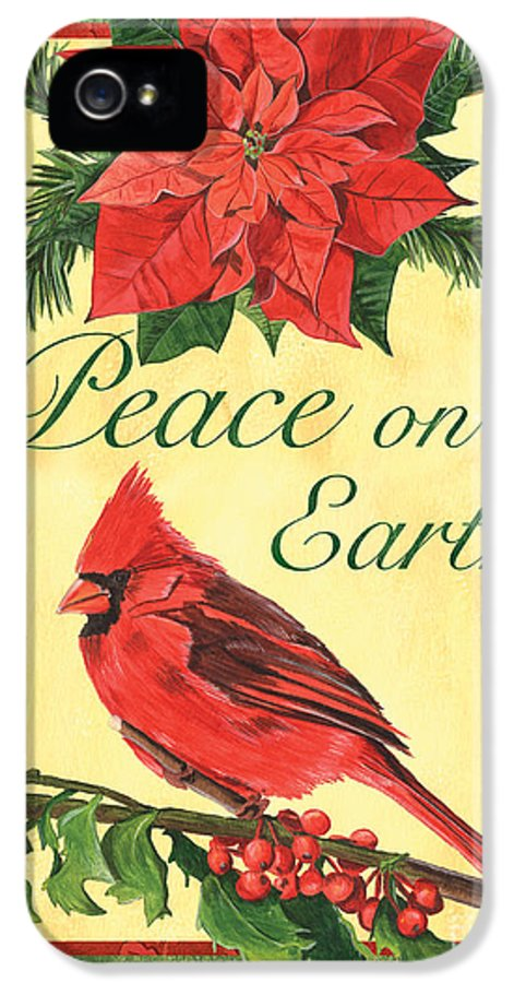 Cardinal IPhone 5 / 5s Case featuring the painting Xmas Around The World 1 by Debbie DeWitt