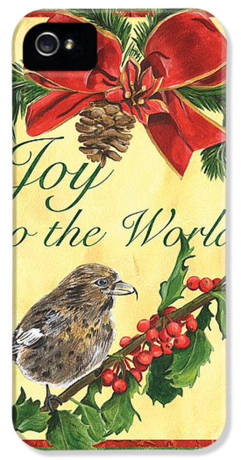 Titmouse IPhone 5 / 5s Case featuring the painting Xmas Around The World 2 by Debbie DeWitt