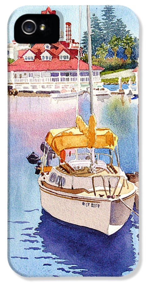 Sailboat IPhone 5 / 5s Case featuring the painting Yellow Sailboat And Coronado Boathouse by Mary Helmreich
