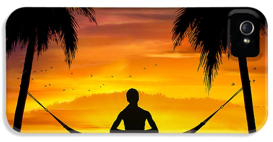 Yoga IPhone 5 / 5s Case featuring the digital art Yoga At Sunset by Bedros Awak
