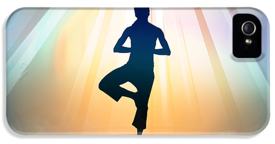 Yoga IPhone 5 / 5s Case featuring the digital art Yoga Balance by Bedros Awak