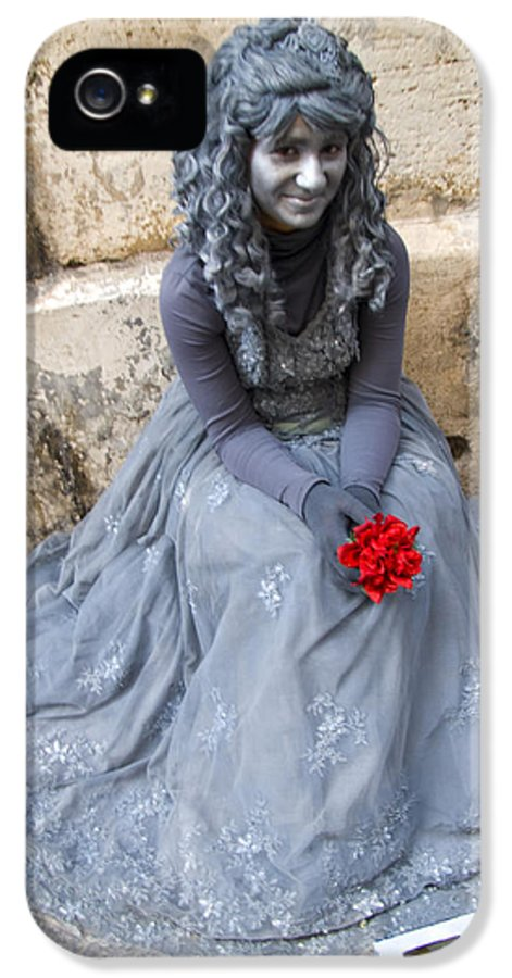 Waif IPhone 5 / 5s Case featuring the photograph Young Woman Busker In Syracusa Sicily by David Smith