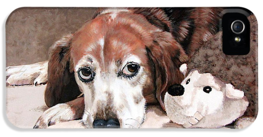 Dog IPhone 5 / 5s Case featuring the painting Zeppy And Lovey by Sandra Chase