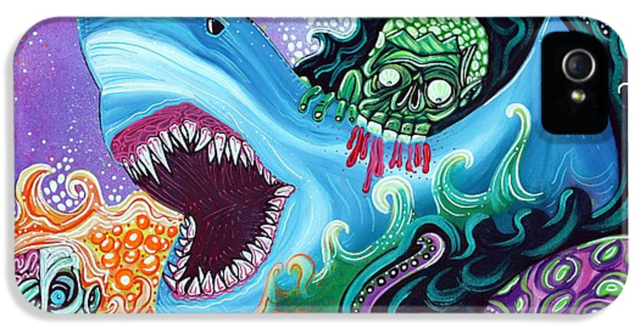 Shark IPhone 5 / 5s Case featuring the painting Zombie Handfishin by Laura Barbosa