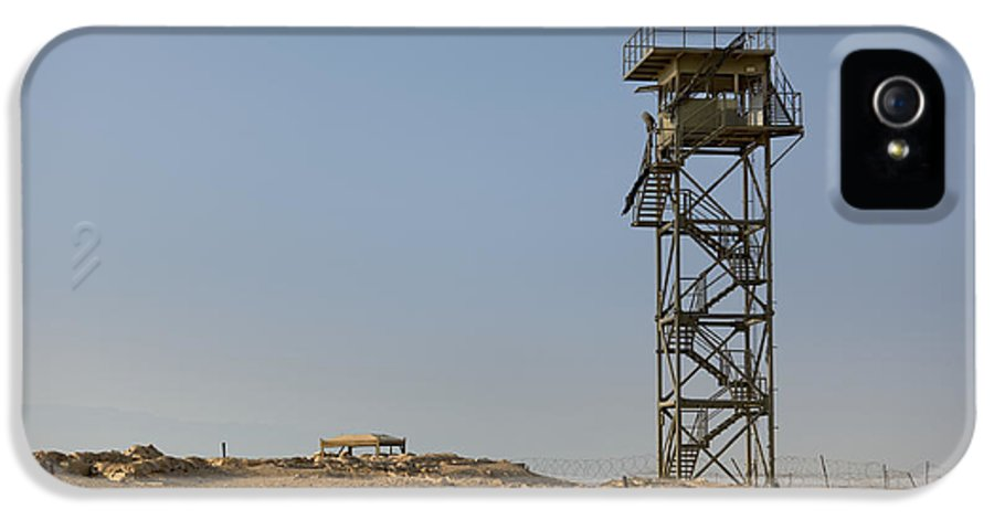 Abandoned IPhone 5 / 5s Case featuring the photograph Abandoned Watchtower In The Desert by Noam Armonn