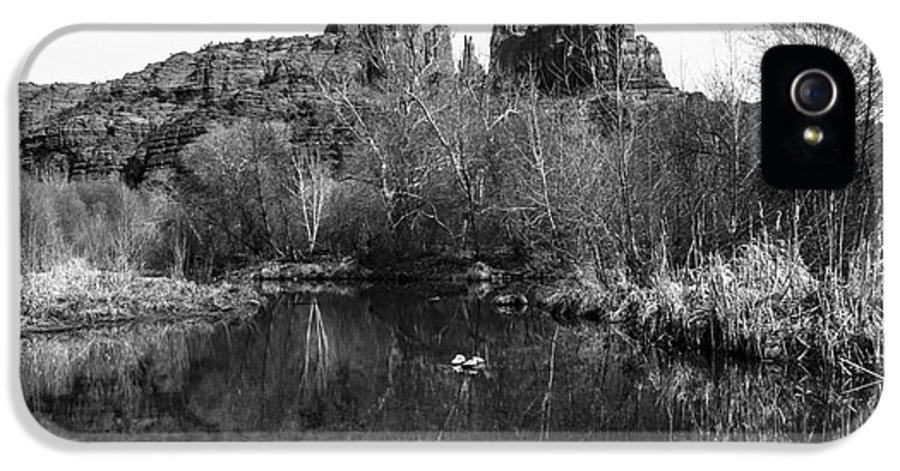 Black And White IPhone 5 / 5s Case featuring the photograph Cathedral Rock Reflections Landscape by Darcy Michaelchuk