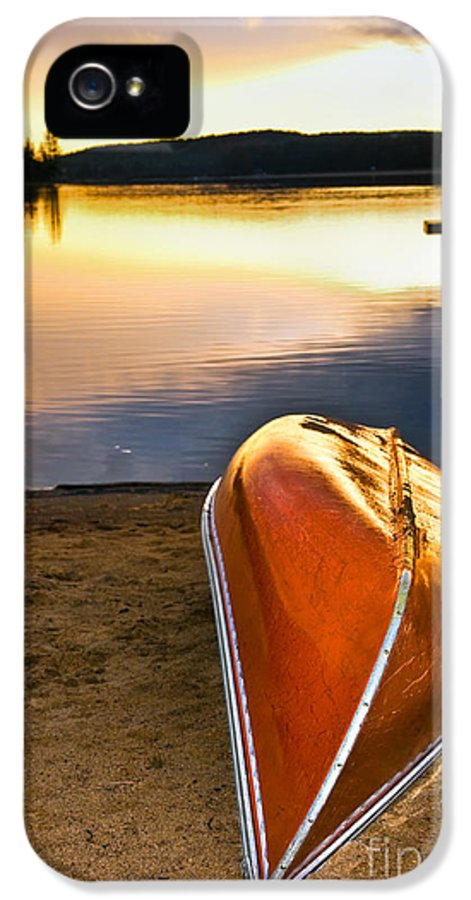 Canoe IPhone 5 / 5s Case featuring the photograph Lake Sunset With Canoe On Beach by Elena Elisseeva