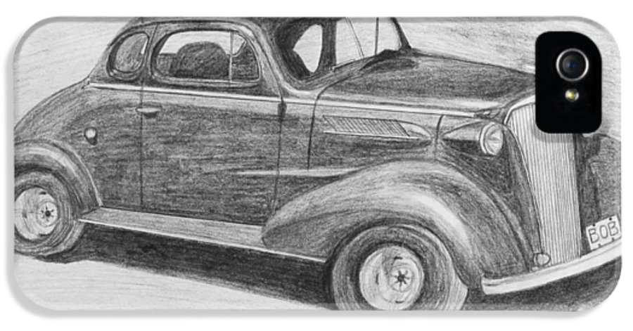 Car IPhone 5 / 5s Case featuring the drawing 1937 Chevy by Kume Bryant