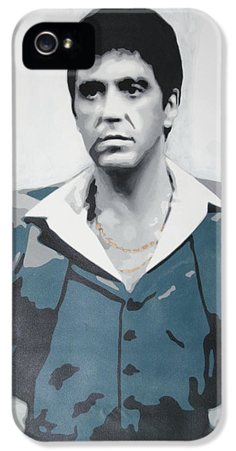 Scarface IPhone 5 / 5s Case featuring the painting Scarface by Luis Ludzska