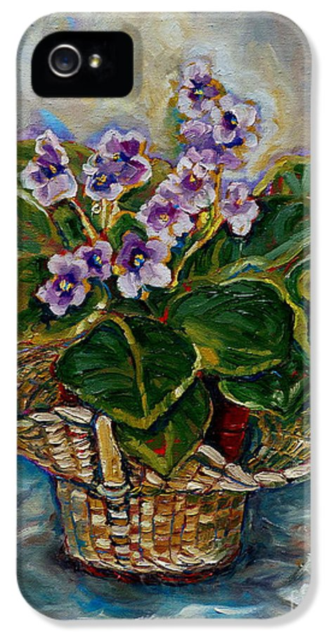 African Violets IPhone 5 / 5s Case featuring the painting African Violets by Carole Spandau