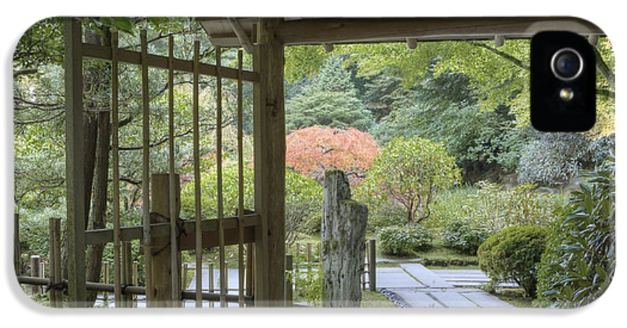 Mood IPhone 5 / 5s Case featuring the photograph Bamboo Gate And Traditional Arch by Douglas Orton