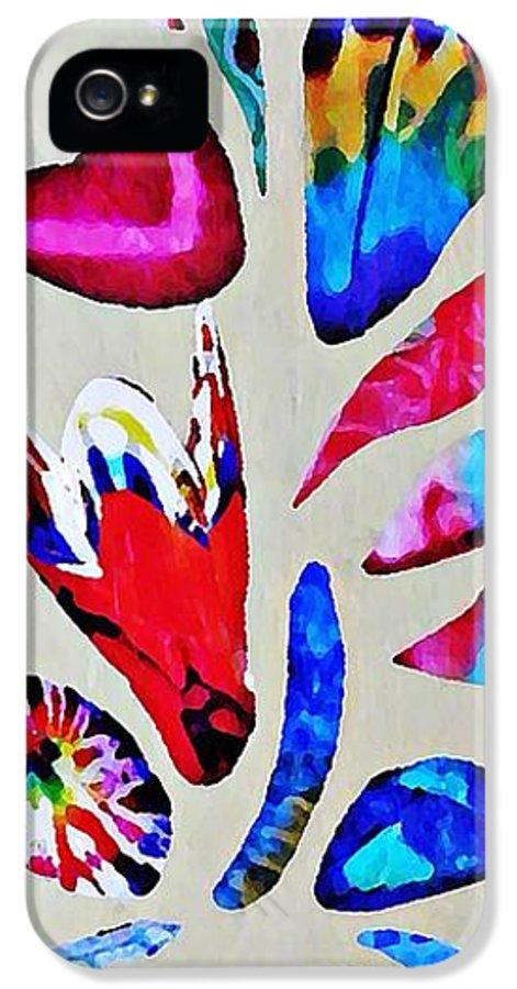 Batik Bouquet IPhone 5 / 5s Case featuring the mixed media Batik Bouquet by Sarah Loft
