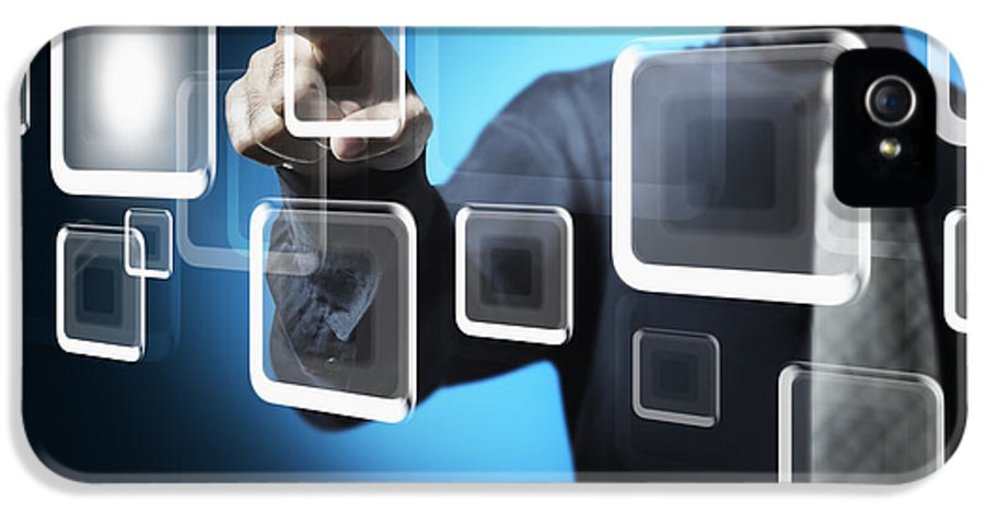 Business IPhone 5 / 5s Case featuring the photograph Businessman Touching Screen Button by Setsiri Silapasuwanchai