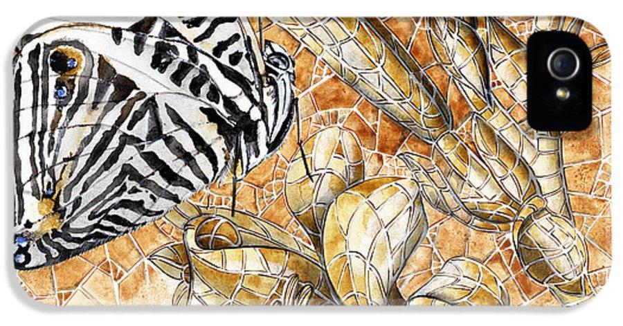 Acrylic IPhone 5 / 5s Case featuring the painting Butterfly Mosaic 02 Elena Yakubovich by Elena Yakubovich